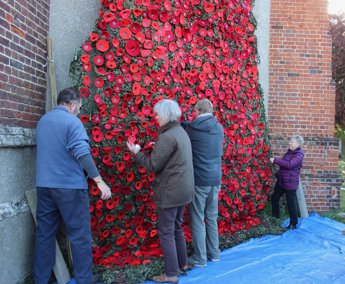 Making some final adjustments to the poppies